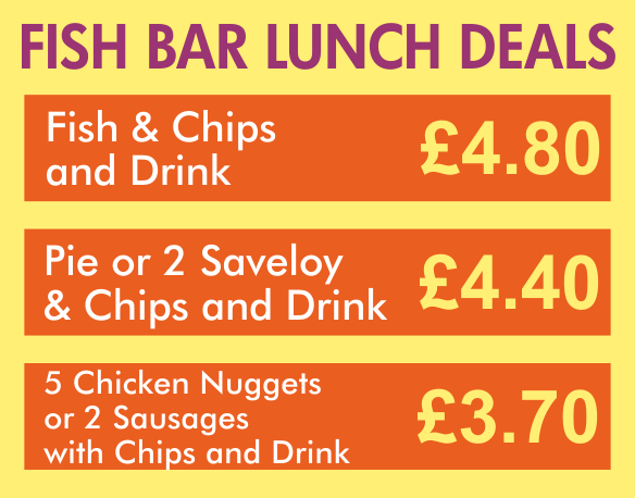 Taylor's fish bar Tonbridge lunchtime deals